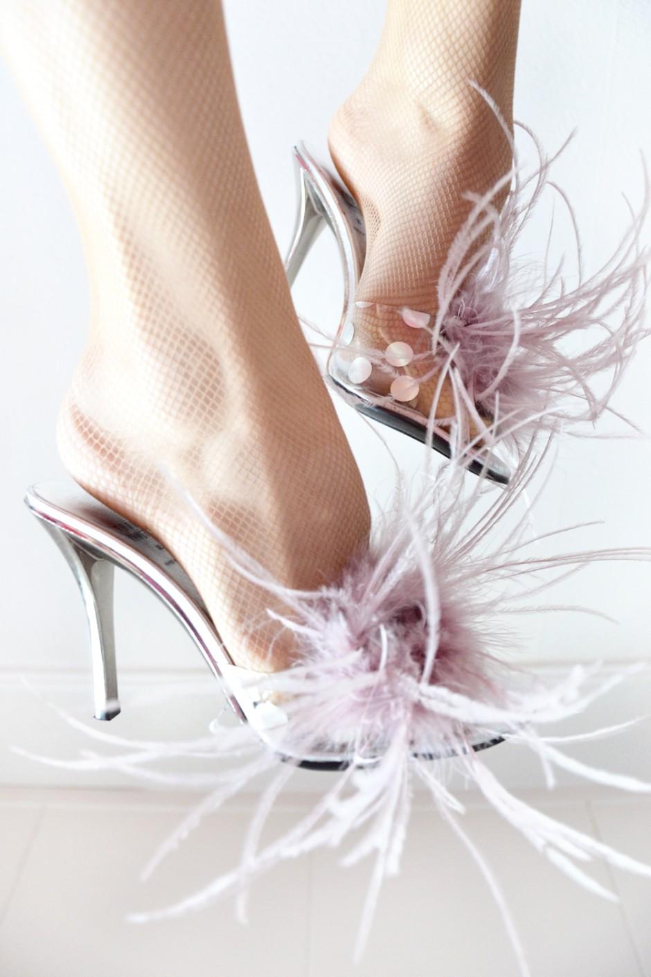 designer feather heels